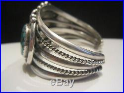 Native Vintage Old Pawn Navajo Sterling Silver Turquoise Cuff Bracelet Signed