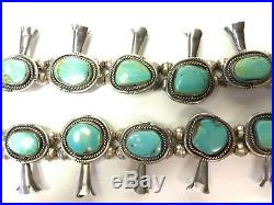 Navajo American Vintage Turquoise Sterling Squash Blossom Necklace 25 Boho