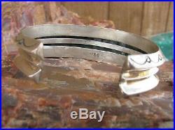 Navajo Kingman Turquoise Vintage Pawn 8 Row Sterling Silver Bracelet Cuff SC