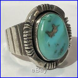 Navajo Mens Turquoise Ring Sz 10 Signed Nakai Vintage 60s Sterling Silver 17g