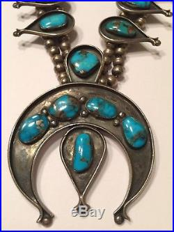 Navajo Morenci Turquoise Sterling Silver Squash Blossom Necklace Vintage 1950