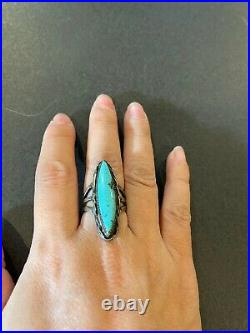 Navajo Sterling Old Pawn Long Turquoise Silver Ring Vintage Native American Sz 7