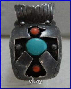 Navajo Sterling Silver Turquoise Coral Watch Cuff Bracelet by Juan Alberta