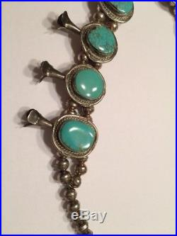 Navajo Turquoise Sterling Silver Squash Blossom Necklace Vintage 1970s Handmade