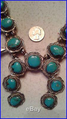 Navajo VINTAGE Squash Blossom Necklace CANDELARIA Turquoise, Sterling, Big Bold