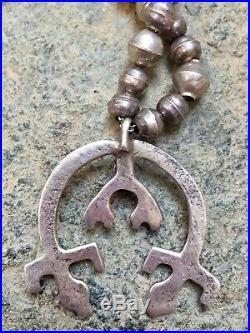Navajo Vintage Sandcast Sterling Rainbow Yei Naja & Pearls Necklace 18 25 Grams