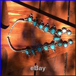 Navajo Vintage Squash Blossom Silver and Turquoise Necklace