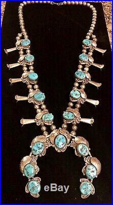 Navajo Vintage Sterling Silver & Turquoise Squash Blossom Necklace