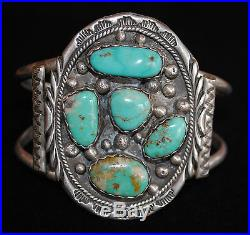 Navajo Vintage Sterling Silver and Natural Turquoise Cuff Bracelet, Old Pawn