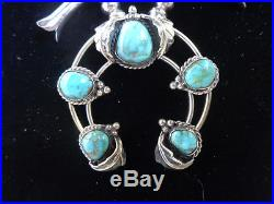 Navajo Vintage Sterling Silver with A+ Turquoise Small Squash Blossom Necklace