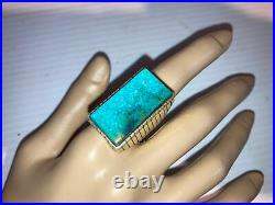 Nice Large Vintage Navajo Sterling Silver Turquoise Mens Ring Size 10