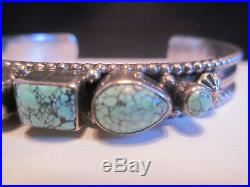 Nice Vintage Pawn Navajo Sterling Silver Spiderweb Turquoise Row Cuff Bracelet