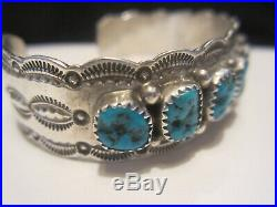 Nice Vintage Pawn Navajo Sterling Silver Turquoise Row Cuff Bracelet Signed W. M