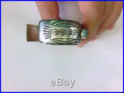 Nice Vtg. Turquoise Sterling Silver Navajo Cuff Bracelet Signed WB. BUY NOW