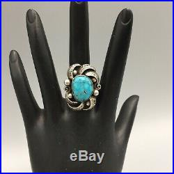 Nicely Embellished Vintage Turquoise and Sterling Silver Ring Size 7
