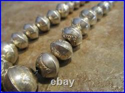 OLDER Vintage Navajo Graduated Sterling Silver PEARLS Design Bead Necklace