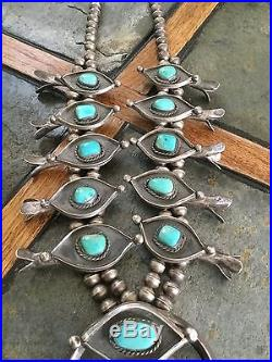 OLD EARLY 1960s VINTAGE NAVAJO STERLING SILVER TURQUOISE SQUASH BLOSSOM NECKLACE