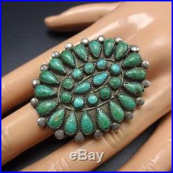 OLD PAWN 1940s Vintage NAVAJO Sterling Silver TURQUOISE Cluster RING size 9