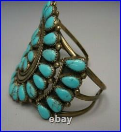 OLD PAWN Navajo Cuff Bracelet -Vintage PETIT POINT CLUSTER 7