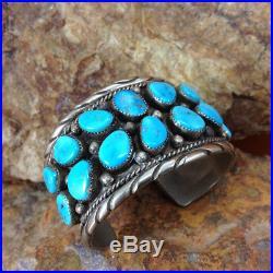 OLD PAWN VINTAGE AUTHENTIC NAVAJO Kingman Turquoise 16 STONE Large Cuff Bracelet
