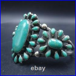 OLD PAWN Vintage NAVAJO Heavy Sterling Silver TURQUOISE Cluster Cuff BRACELET