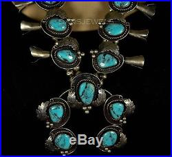 OLD Pawn Navajo Vintage Morenci TURQUOISE Sterling SQUASH BLOSSOM Necklace