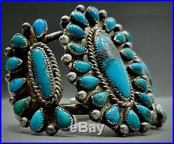 OLD Vintage Zuni Sterling Silver Kingman Turquoise Cluster Cuff Bracelet