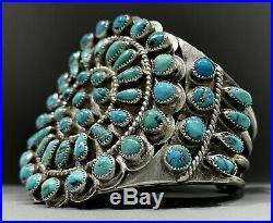 OLD Vintage Zuni Sterling Silver Kingman Turquoise Cluster Cuff Bracelet 103grms