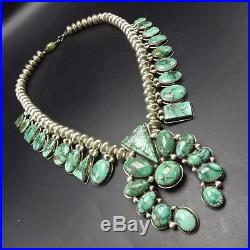 ORVILLE TSINNIE Vintage NAVAJO Carico Lake TURQUOISE Squash Blossom NECKLACE
