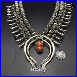 ORVILLE TSINNIE Vintage NAVAJO Sterling Silver & CORAL SQUASH BLOSSOM Necklace