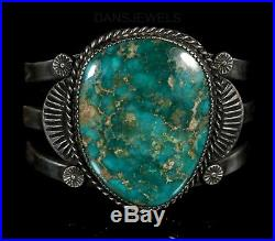 Old PAWN Navajo Vintage LARGE Cerillos Turquoise Fred Harvey STERLING Bracelet