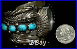 Old PAWN Navajo Vintage Sterling Men's Heavy Turquoise Signed Watch Bracelet