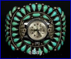 Old PAWN Navajo Vintage Sterling Turquoise Petit Women's Signed Watch Bracelet