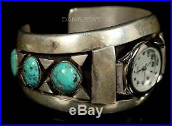 Old PAWN Navajo ZUNI Vintage Sterling RIVERAS Turquoise 6 3/4 Watch Bracelet