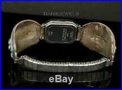 Old PAWN ZUNI Navajo Vintage Sterling Women's Les Baker Turquoise Watch Bracelet