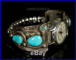 Old PAWN ZUNI Vintage Sterling Women's OLD SNAKE Turquoise Watch Bracelet EFFIE