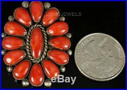 Old Pawn Vintage Alice Quam Original Red Sea Coral & Sterling Pendant Brooch