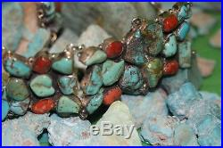 Old Pawn Vintage Concho Belt Kingman Turquoise And Red Natural Coral, Sterling