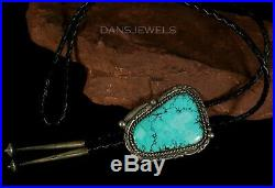 Old Pawn Vintage NAVAJO Handmade Spiderweb Turquoise & Sterling Bolo Tie