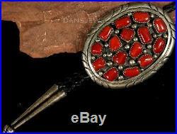 Old Pawn Vintage NAVAJO Sterling Big Mediterranean Coral & STERLING Bolo Tie