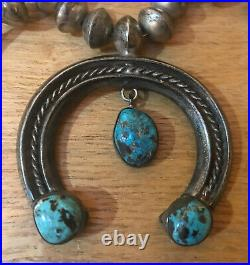 Old Pawn Vintage Native Navajo Morenci Turquoise Sterling Silver Squash Blossom