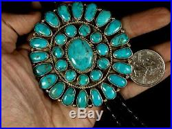 Old Pawn Vintage Navajo 1970's Gorgeous Cluster TURQUOISE Sterling Bolo Tie