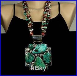 Old Pawn Vintage Navajo Chinese Hubei Turquoise 4 3/4 HUGE Pendant Enhancer
