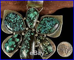 Old Pawn Vintage Navajo Chinese Hubei Turquoise BUTTERFLY HUGE Pendant Enhancer