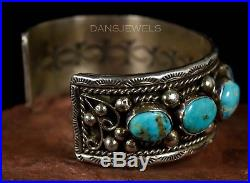 Old Pawn Vintage Navajo HANDMADE Turquoise Sterling Bracelet by B. LEE Stunning