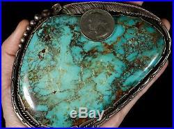 Old Pawn Vintage Navajo HUGE Royston SLAB Turquoise & Sterling Belt Buckle