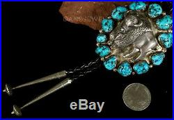 Old Pawn Vintage Navajo Kingman Cluster 3D Bison TURQUOISE Sterling Bolo Tie