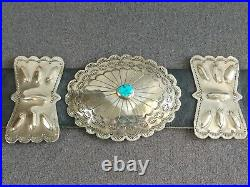 Old Pawn Vintage Navajo Kingman Turquoise Sterling Silver Concho Belt