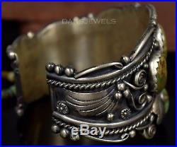 Old Pawn Vintage Navajo L RAMONE Green Royston TURQUOISE Sterling CUFF Bracelet
