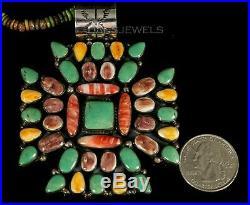 Old Pawn Vintage Navajo Spiny Oyster Turquoise 3 1/2 HUGE Pendant Enhancer